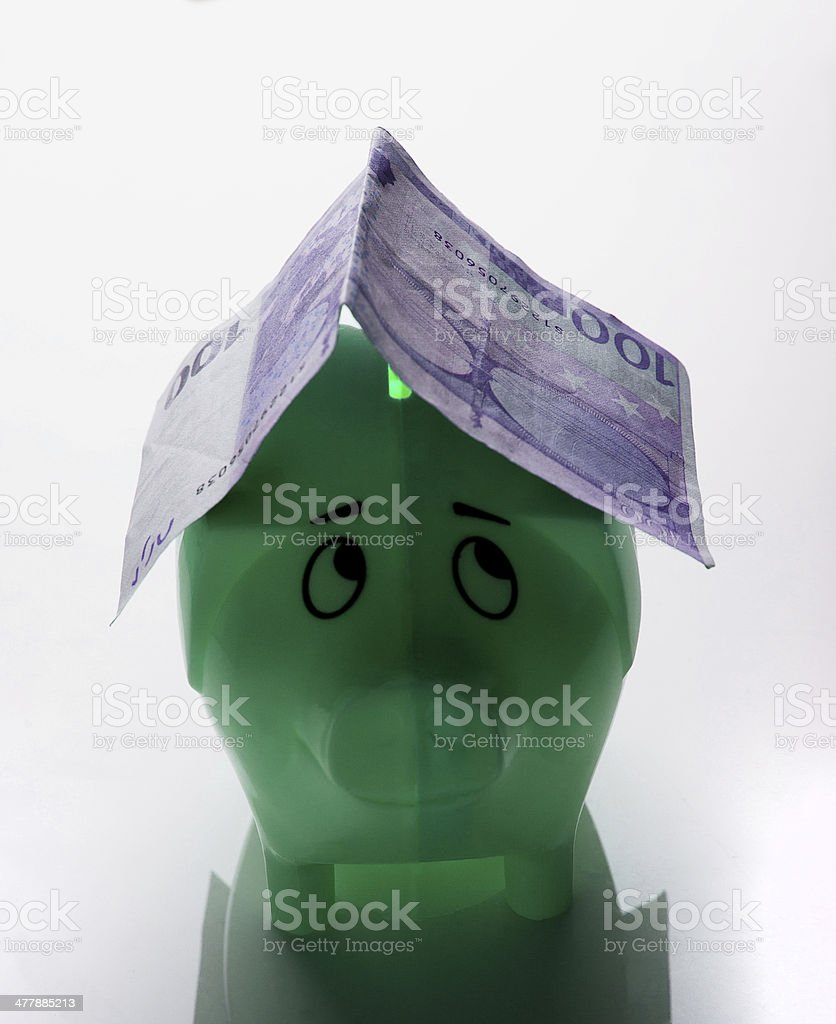 piggy bank with Euro banknote royalty-free stock photo