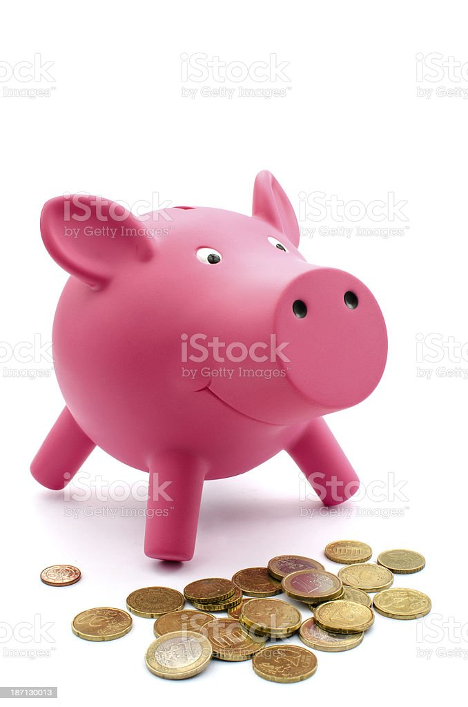 Piggy bank with Euros royalty-free stock photo