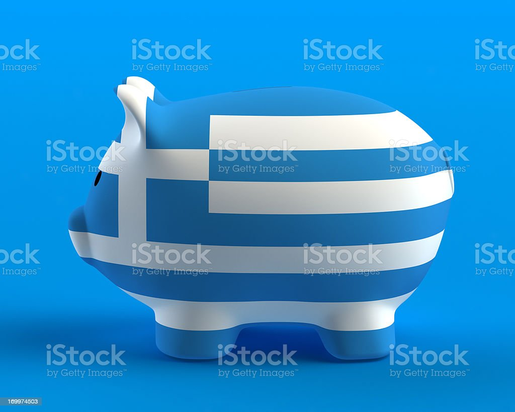 Piggy Bank with Greece Flag royalty-free stock photo