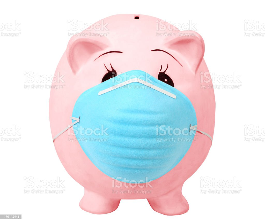 Piggy Bank with mask stock photo