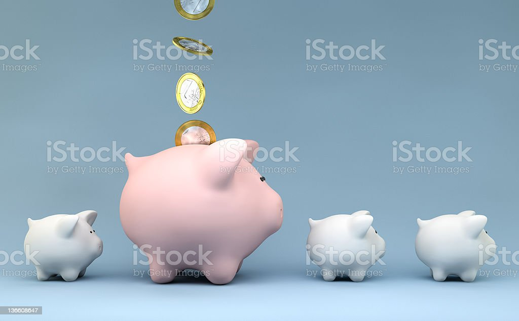 piggy bank with money coins royalty-free stock photo