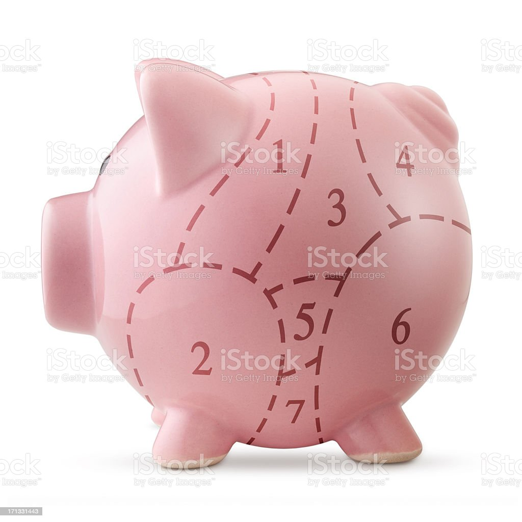 Piggy bank with pork cuts stock photo