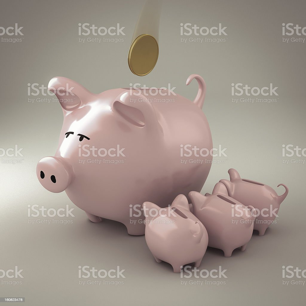 Piggy bank with puppies royalty-free stock photo