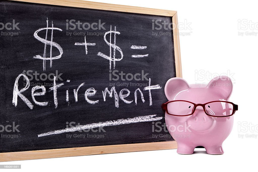 Piggy Bank with retirement calculation royalty-free stock photo