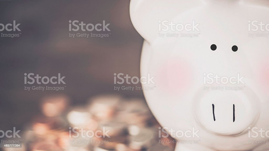 Piggy bank with rosy cheeks on coins. Flush with cash. stock photo