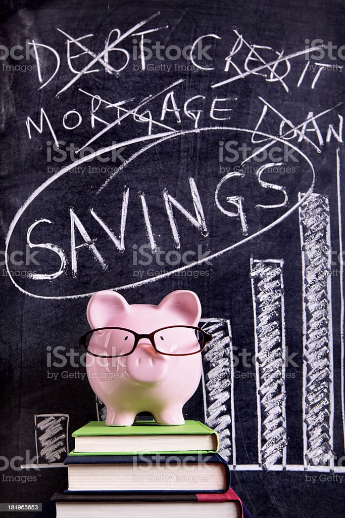 Piggy Bank with savings advice royalty-free stock photo