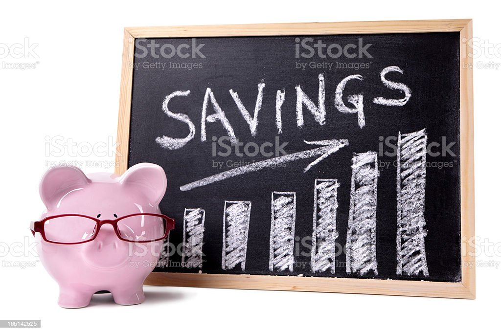 Piggy Bank with savings chart royalty-free stock photo