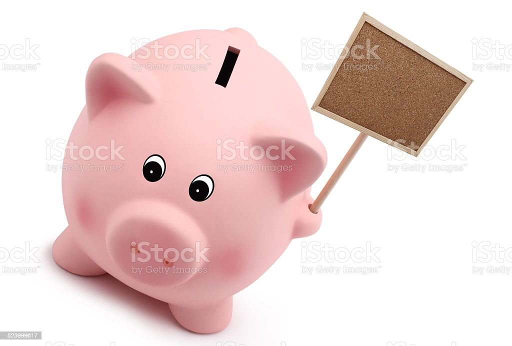 piggy bank with sign board isolated on white background stock photo