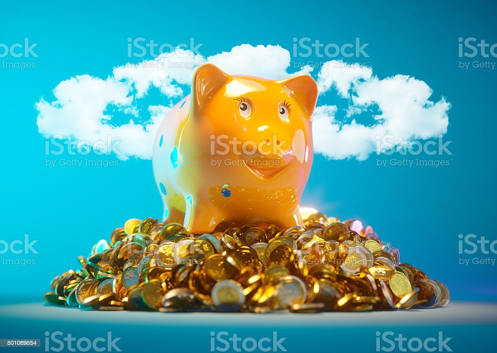Piggy bank with stock of money stock photo