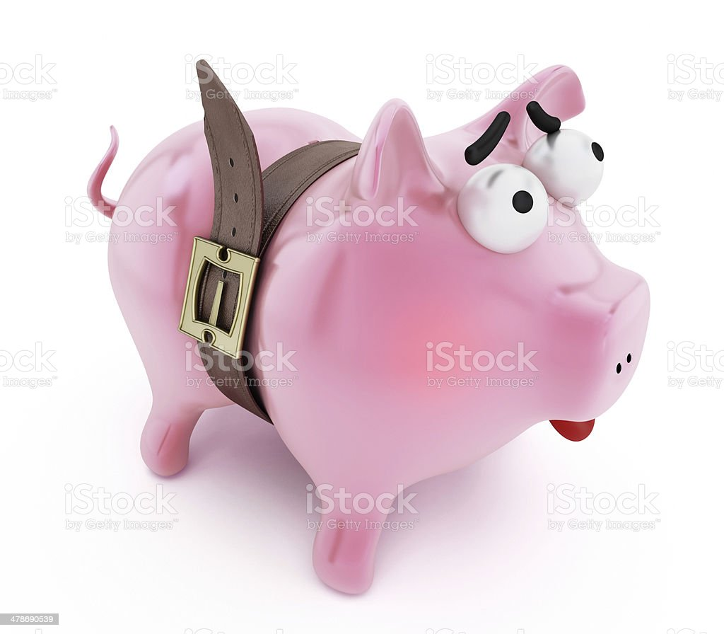 Piggy bank with tight belt stock photo