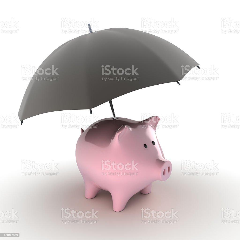 Piggy bank with umbrella royalty-free stock photo