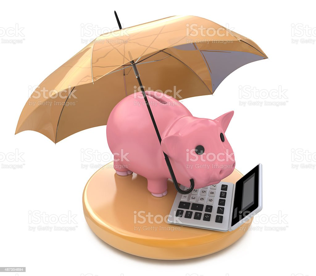 Piggy bank with umbrella. Wealth protection concept stock photo