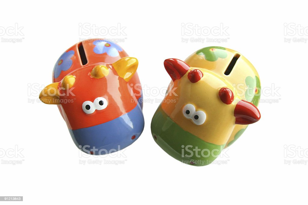 Piggy banking using cows royalty-free stock photo