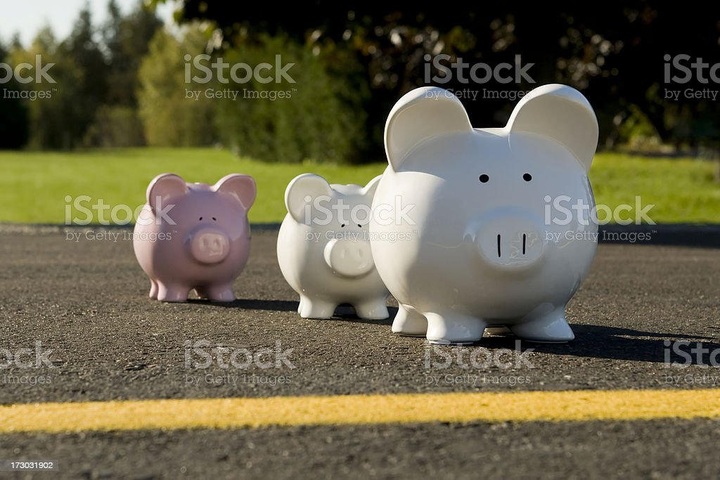 Piggy Banks Crossing The Road royalty-free stock photo