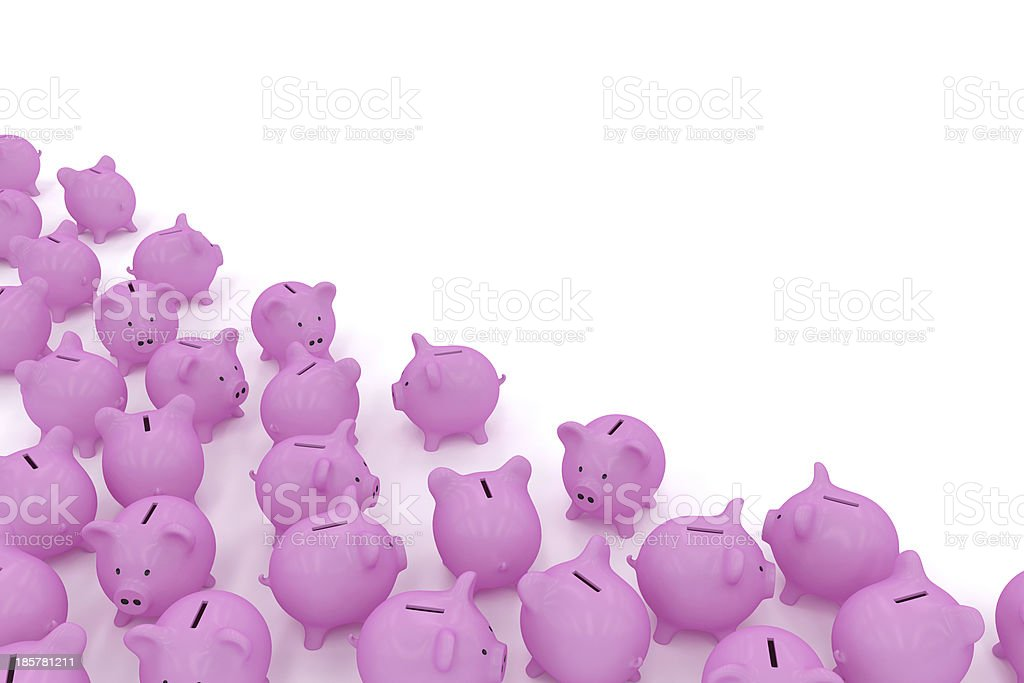 Piggy banks in corner with copyspace royalty-free stock photo