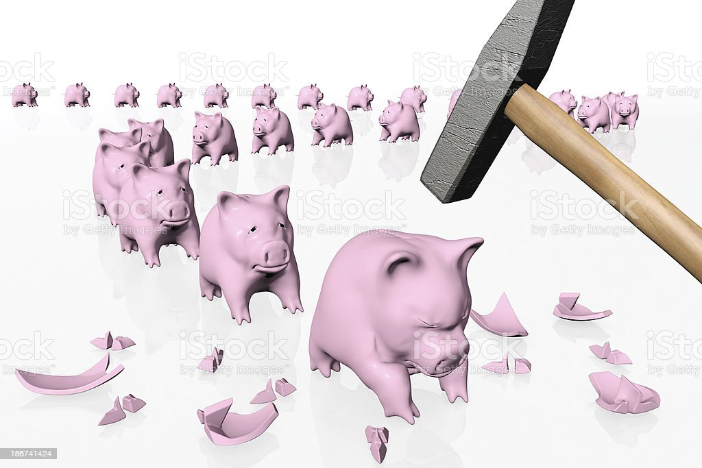piggy banks in queue under the hit of hammer royalty-free stock photo