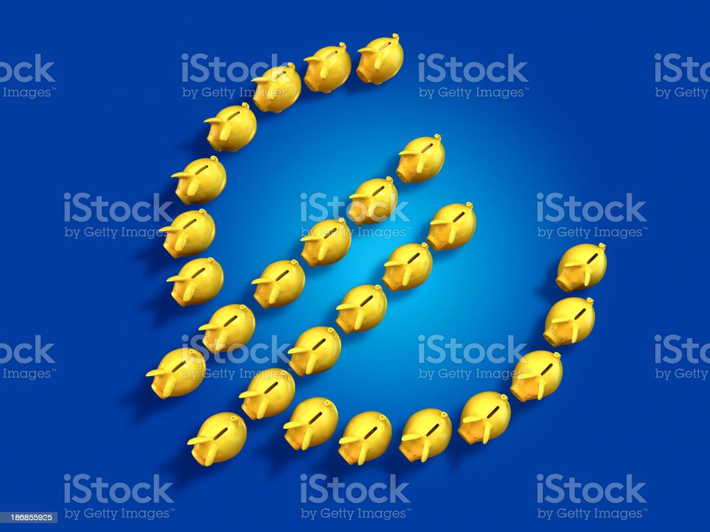 Piggy banks in the form of EU currency symbol royalty-free stock photo