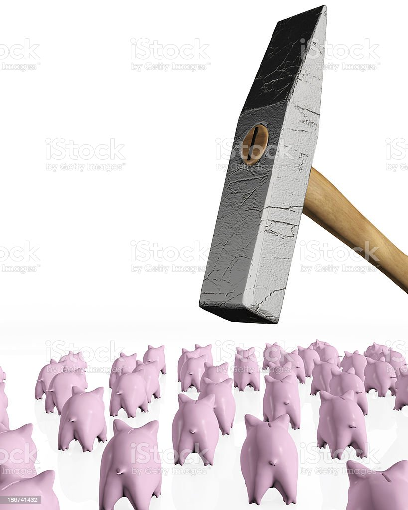 piggy banks under the hit of hammer royalty-free stock photo