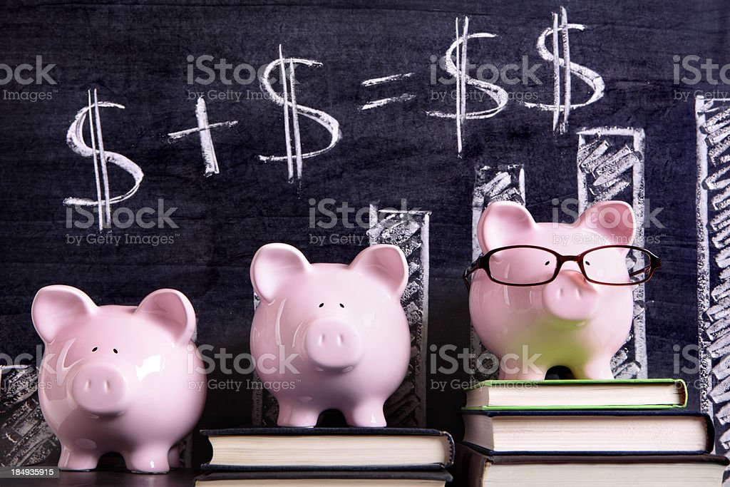 Piggy Banks with savings formula stock photo