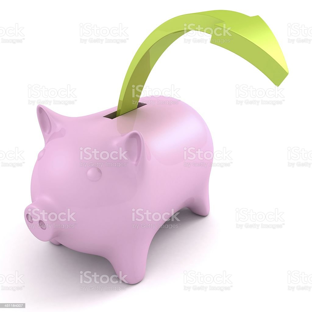 piggy coin money bank and green arrow rising up royalty-free stock photo