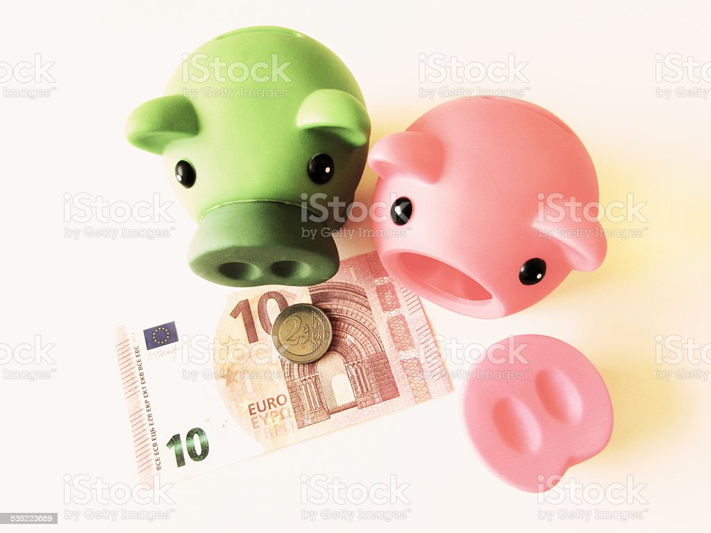 Piggy euro bank stock photo