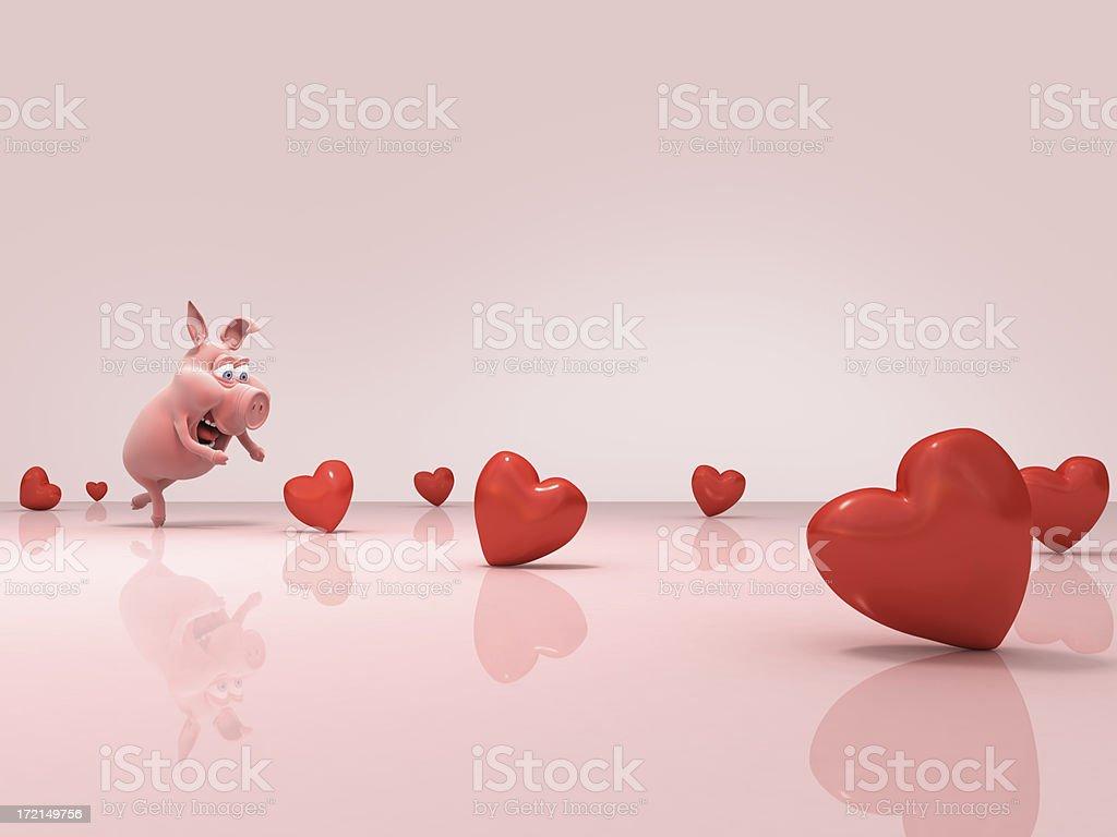 piggy & hearts royalty-free stock photo