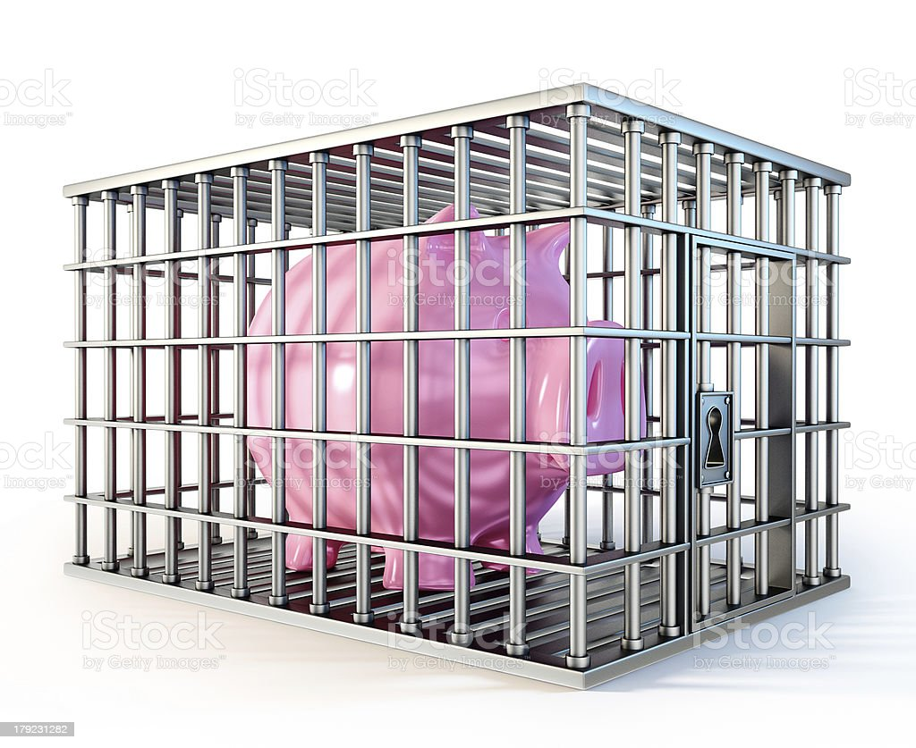 piggy in cage royalty-free stock photo