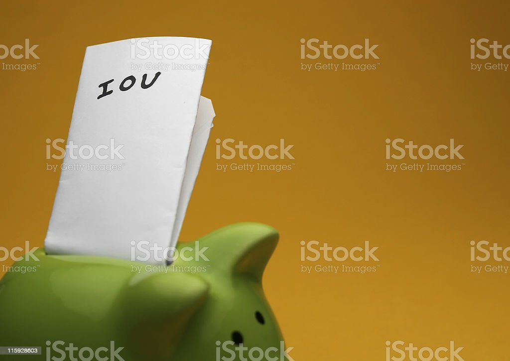 piggy IOU stock photo