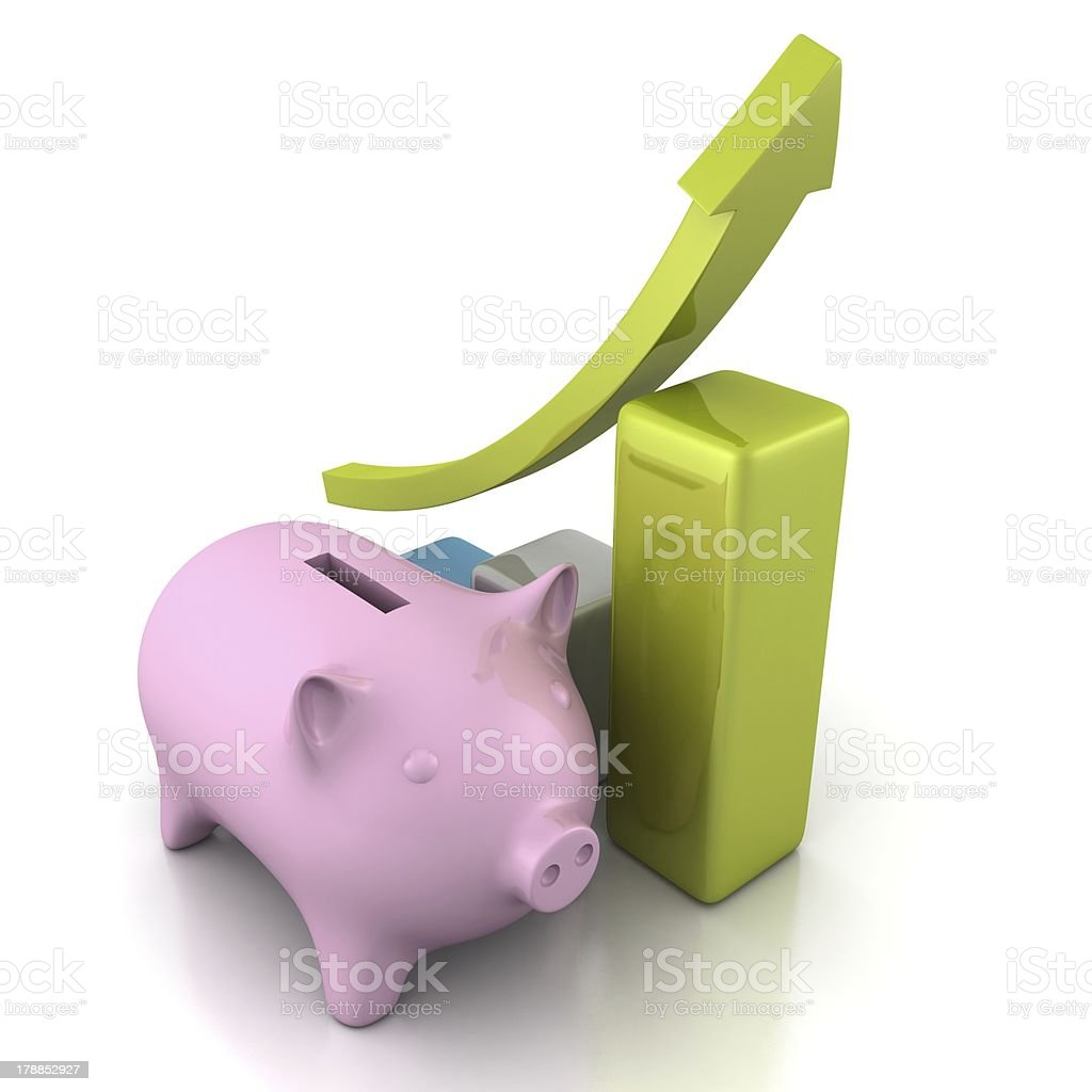 piggy money bank and growing bar chart diagram stock photo