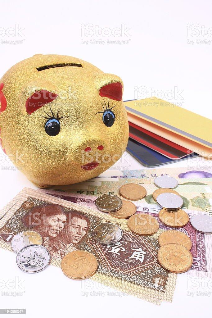 Piggy, passbook and money stock photo