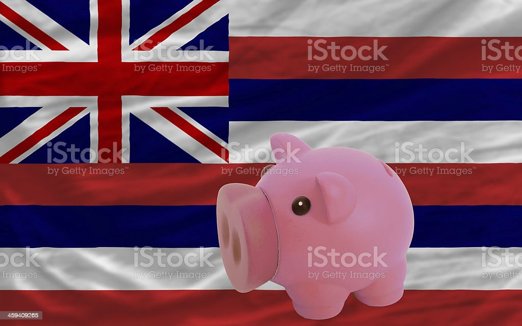 piggy rich bank and  flag of american state hawaii stock photo