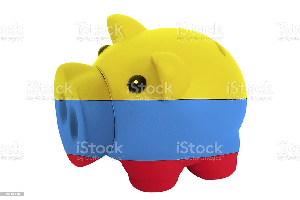 piggy rich bank in colors  national flag of colombia royalty-free stock photo