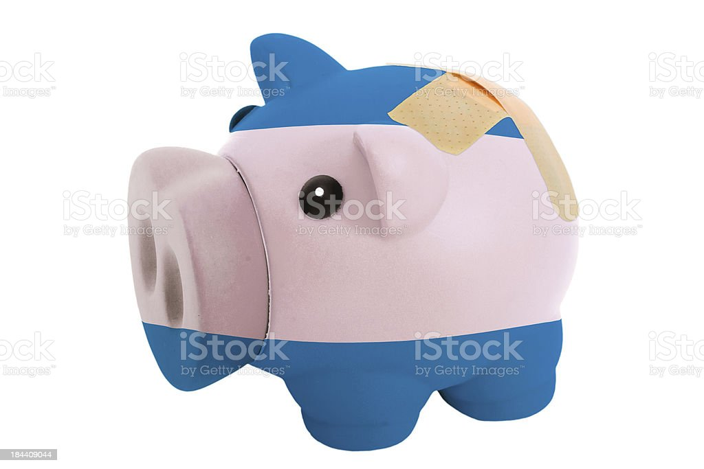 piggy rich bank with bandage in colors of el salvador stock photo
