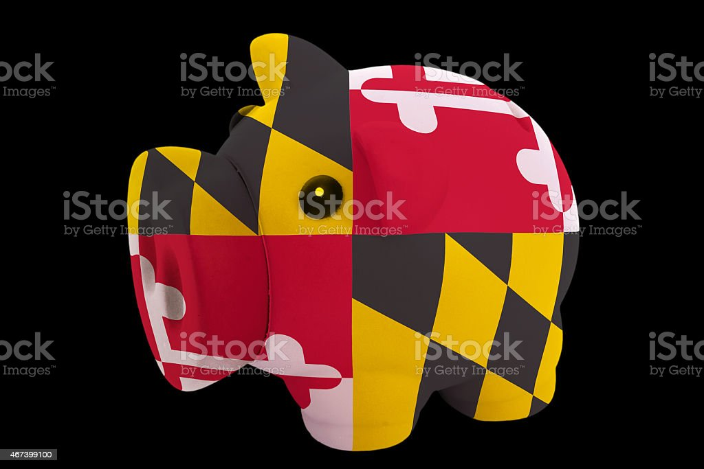 piggy rich coin bank in flag of maryland stock photo