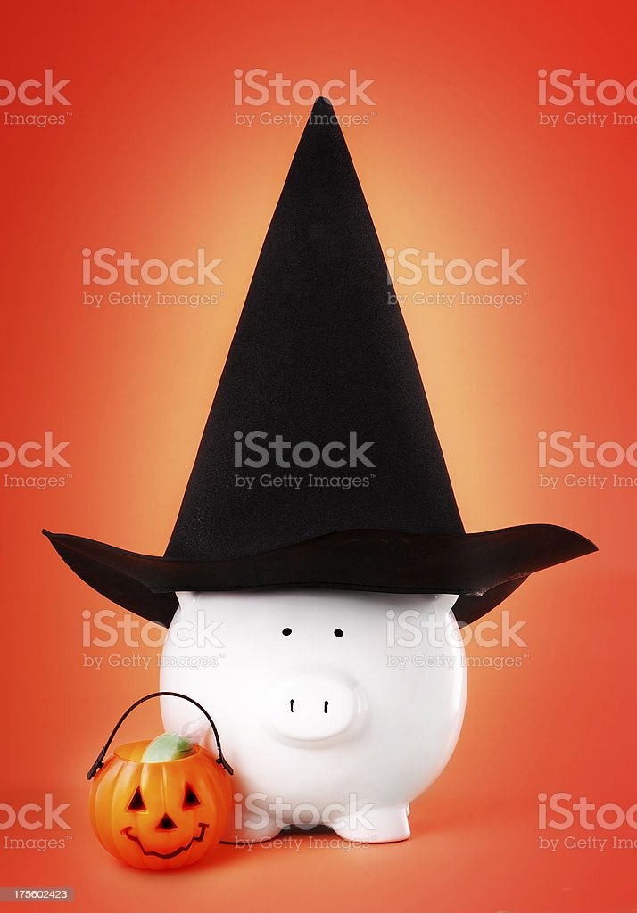 piggy saving for halloween stock photo