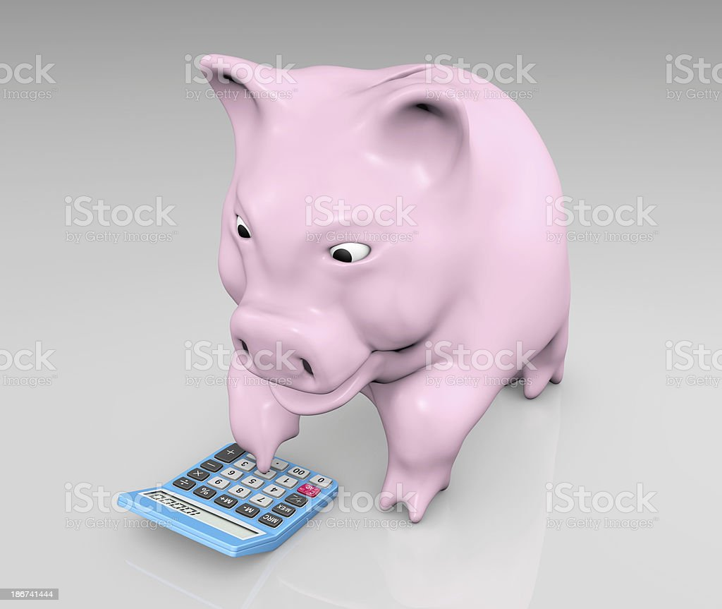 piggy with a calculator royalty-free stock photo