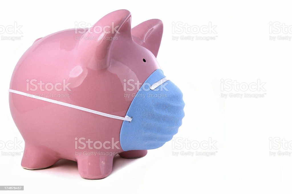 Piggy with Mask for Flu Concept royalty-free stock photo