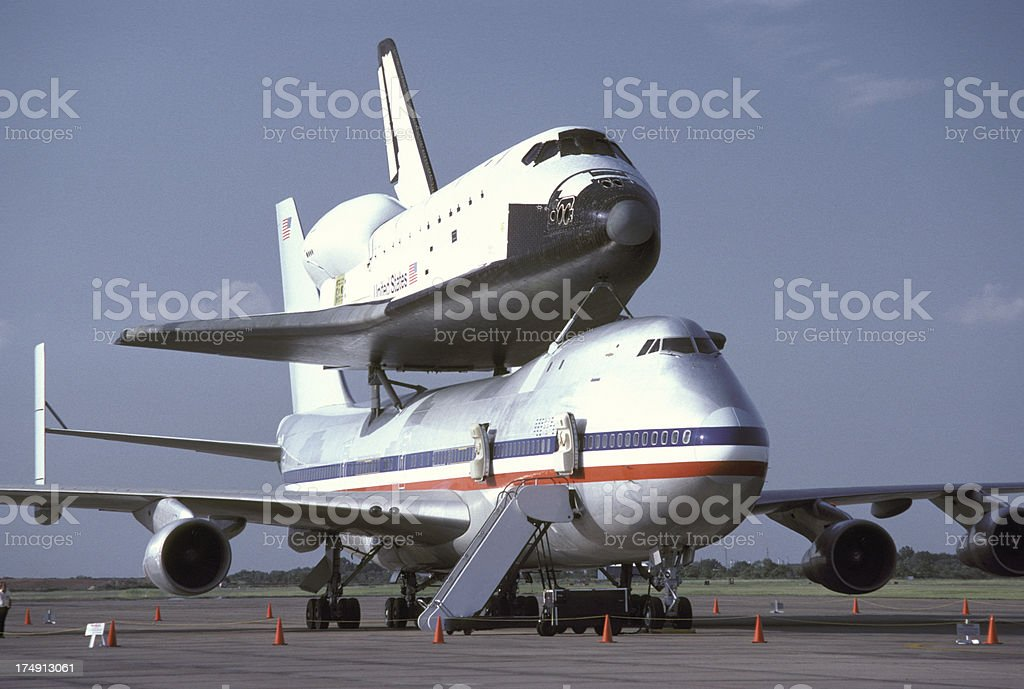 Piggy-Back Space Shuttle On Ground At 45 Degree Angle stock photo