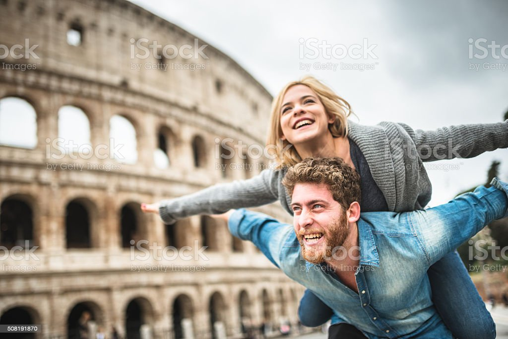 piggybacking for st. valentine in rome stock photo