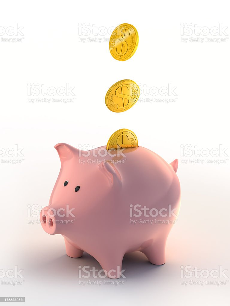 Piggybank filling up with coins (Clipping path included) royalty-free stock photo