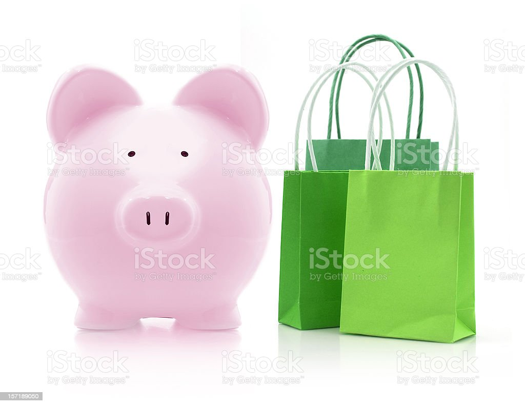 piggybank goes shopping royalty-free stock photo