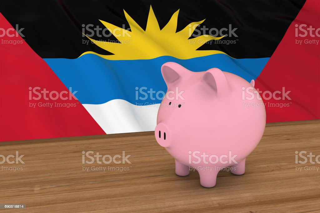 Piggybank in front of Antigua and Barbuda Flag 3D Illustration stock photo