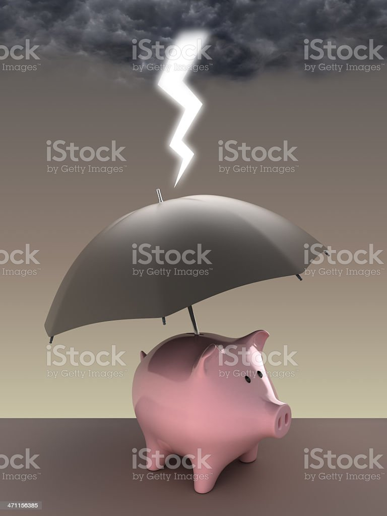 Piggybank in storm royalty-free stock photo