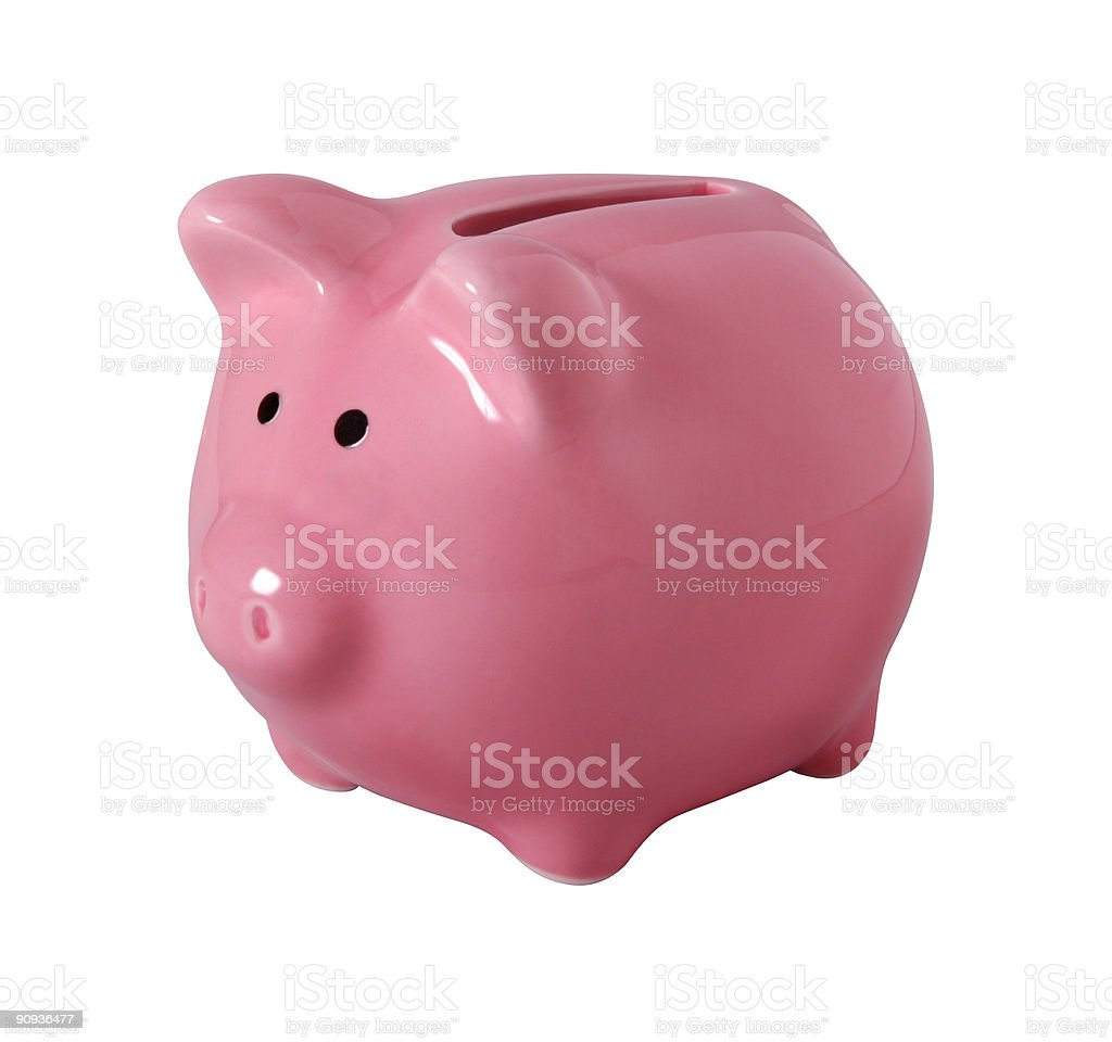 Piggybank isolated on white with clipping path royalty-free stock photo