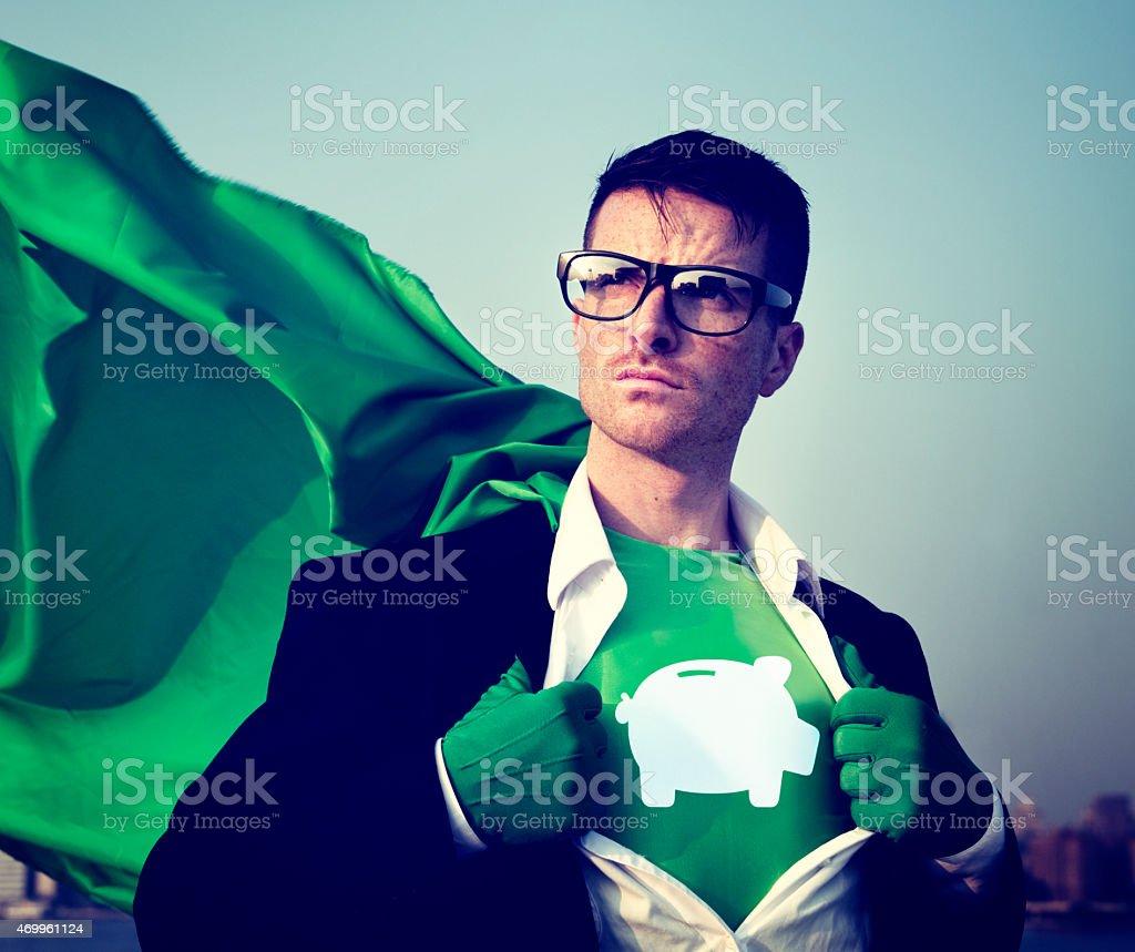 Piggybank Strong Superhero Success Professional Empowerment Stoc stock photo