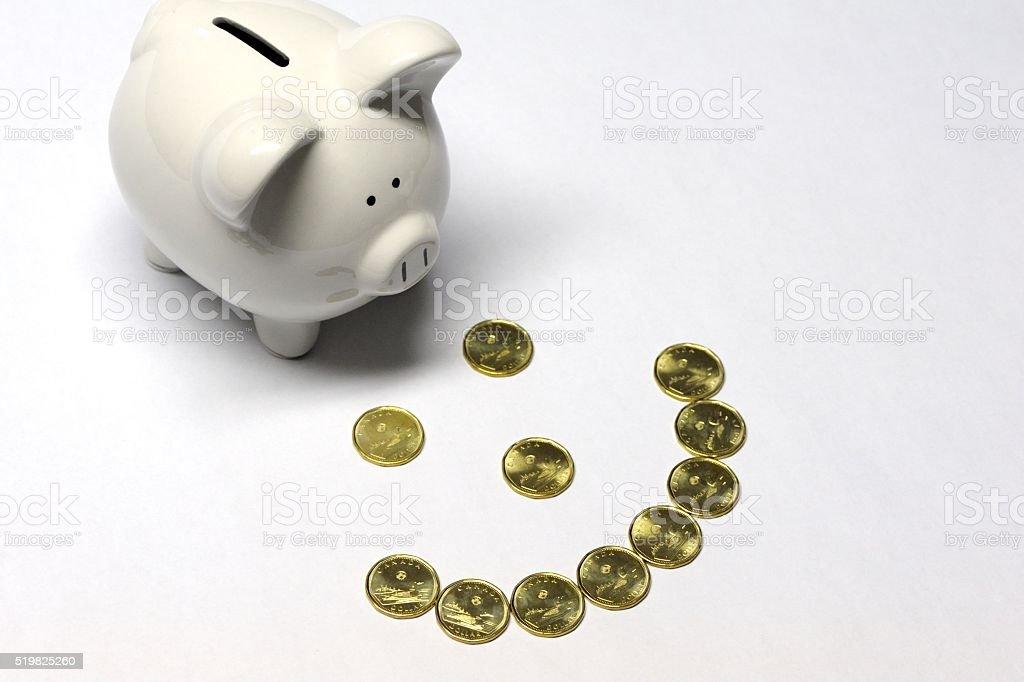 Piggybank With Canadian Dollar Coins stock photo