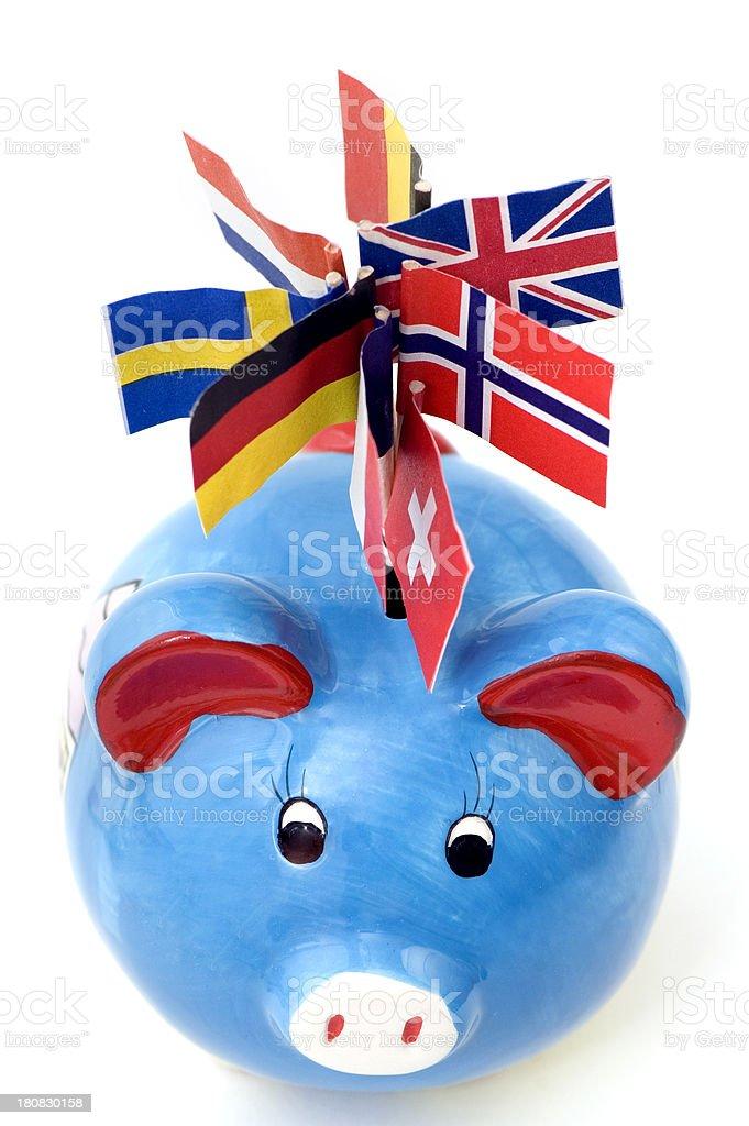 Piggybank with European Flags stock photo