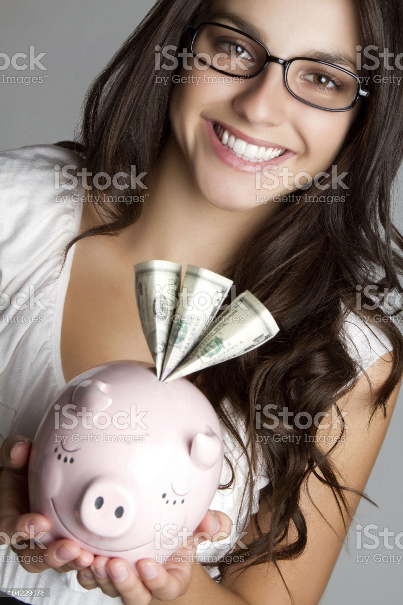 Piggybank Woman royalty-free stock photo