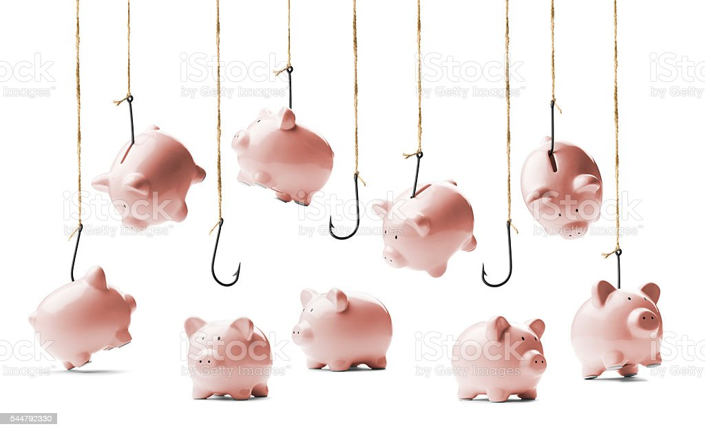 Piggybanks being caught and stolen by hooks on fishing lines stock photo