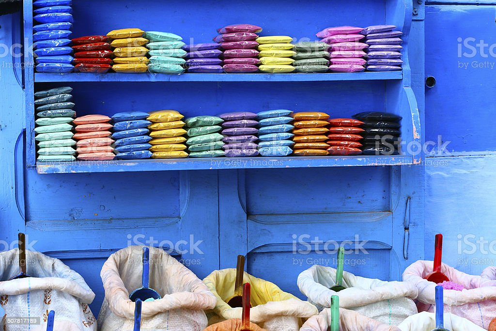 Pigments Colors for sale in the medina of Chefchaouen, Morocco stock photo